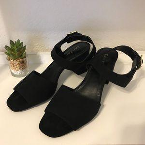 Black Faux Suede Block Heels by Calvin Klein